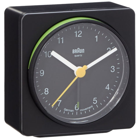 Braun BNC011BKBK Classic Analog Display German Quartz Alarm Clock, Black