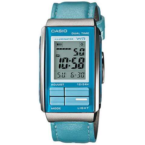 Casio LA-201WBL-2ADF Women's Futurist Digital Display Chronograph Quartz Watch, Blue Leather Band, Rectangular 26.2mm Case