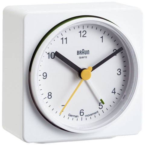 Braun BNC011WHWH Classic Analog Display German Quartz Alarm Clock, White