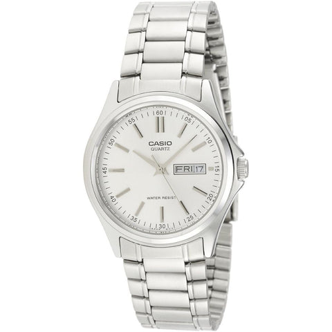 Casio MTP-1239D-7A Analog Display Quartz Watch, Silver Stainless Steel Band, Round 38mm Case