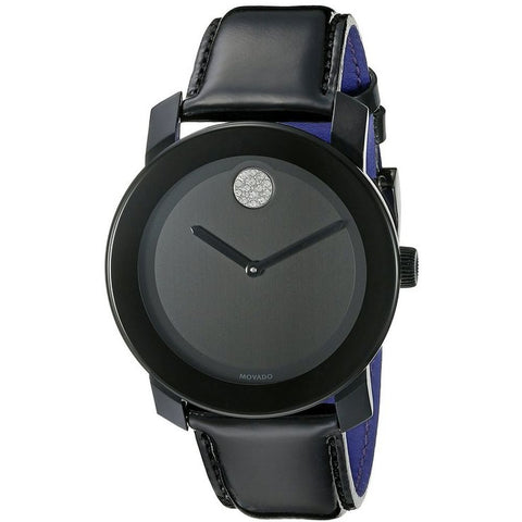 Movado 3600345 Bold Analog Display Quartz Watch, Black Leather Band, Round 42mm Case