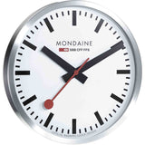 Mondaine A995.CLOCK.16SBB Clocks Analog Display Quartz Wall Clock, Silver Stainless Steel Round 400mm Case
