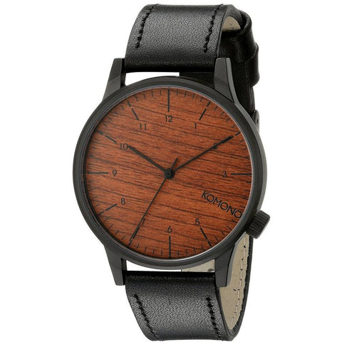 Komono KOM-W2020 Winston Black Wood Analog Quartz Watch, Black Leather Band, Round 41mm Case