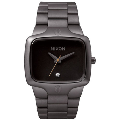 Nixon A140680 Men's Player All Gunmetal/Black Analog Watch, Gunmetal Stainless Steel Band, Square 40mm Case