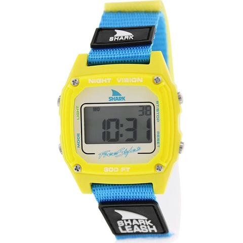 Freestyle Unisex 102242 Shark Leash Yellow/Cyan Digital Watch, Blue Nylon Velcro Band, Square 38mm Case