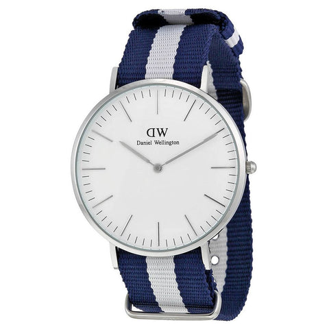 Daniel Wellington 0204DW Glasgow Quartz Analog Men's Watch, NATO Nylon Band, Silver 40mm Case