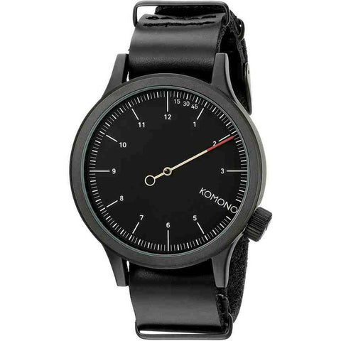 Komono KOM-W1904 Magnus the One Analog Quartz Watch, Black Leather Band, Round 46mm Case