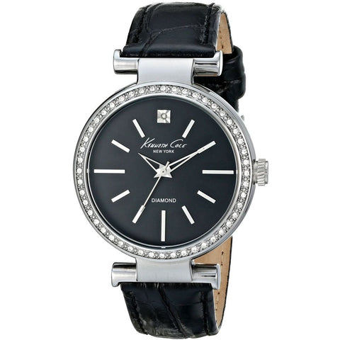 Kenneth Cole KC2898 Dress Sport Women's Analog Watch, Black Leather Band, Round 35mm Case