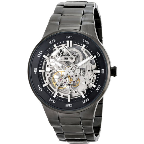 Kenneth Cole KC9343 Automatic Men's Analog Watch, Black Stainless Steel Band, Round 44mm Case