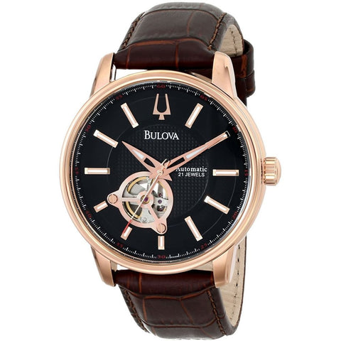 Bulova 97A109 Automatic Analog Display Watch, Brown Leather Band, Round 45mm Case