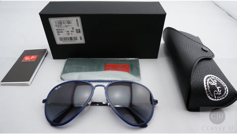 Ray-Ban RB4211 895/8G AviatorLight Ray II Sunglasses, Blue Frame, Gray Gradient 56mm Lenses