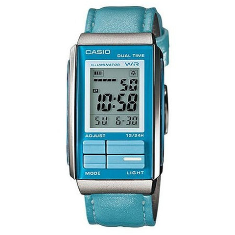 Casio LA201WBL-2A Women's Digital Display Quartz Watch, Blue Green Leather Band, Rectangle 26.2mm Case