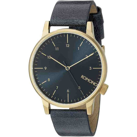 Komono KOM-W2251 Winston Regal Blue Analog Quartz Watch, Blue Leather Band, Round 41mm Case