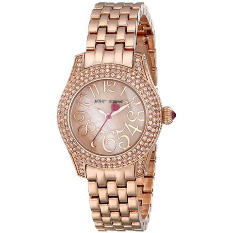 Betsey Johnson BJ00193-07 Women's Analog Display Quartz Watch, Rose Gold Stainless Steel Band, Round 30mm Case
