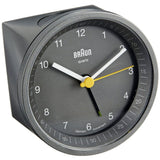 Braun BNC007GYGY Classic Analog Display German Quartz Alarm Clock, Round 80mm Case, Grey