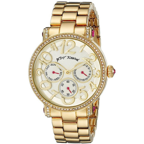 Betsey Johnson BJ00492-06 Women's Analog Display Quartz Watch, Gold Stainless Band, Round 38mm Case