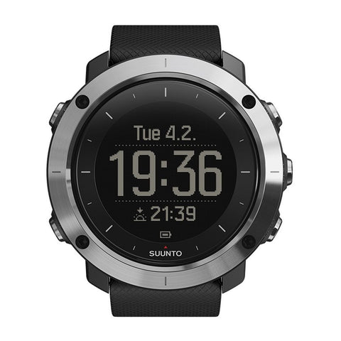 Suunto SS021843000 Traverse Black Men's Digital Display Quartz Watch, Black Silicone Band, Round 50mm Case