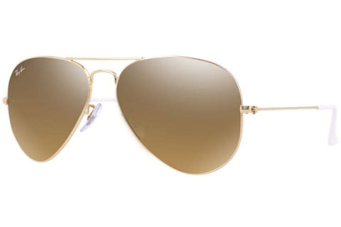 Ray-Ban RB3025 001/3K Aviator Gradient Sunglasses, Gold Frame, Brown/Silver Mirror 55mm Lenses
