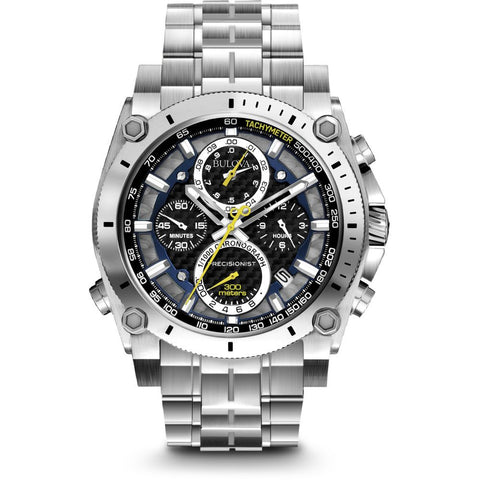 Bulova 96B175 Precisionist Analog Display Chronograph Men's Watch, Silver Stainless Steel Band, Round 46.5mm Case