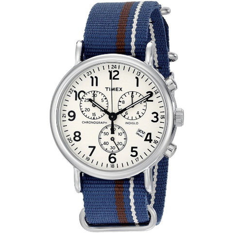 Timex TW2P624009J Weekender Chrono Oversized Analog Display Chronograph Quartz Watch, Blue Nylon Band, Round 40mm Case