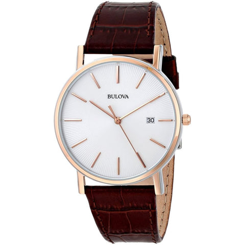 Bulova 98H51 Classic Analog Display Quartz Watch, Brown Leather Band, Round 37mm Case