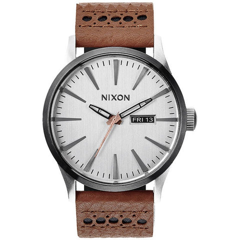 Nixon A1051752 Men's Sentry Leather Saddle/Silver Analog Watch, Brown Leather Band, Round 42mm Case