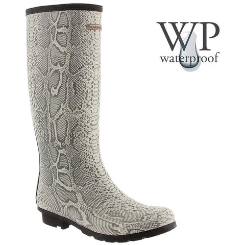 Bearpaw 1852W-855-M090 Women's Constance 13in Tall Boots, Natural Snake Print, Size 9 M US