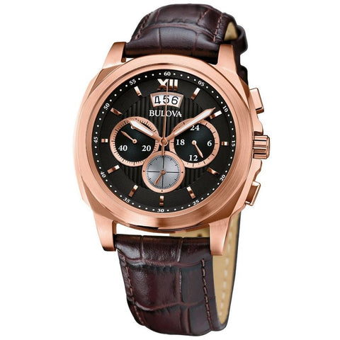Bulova 97B136 Classic Chronograph Analog Display Men's Watch, Brown Leather Strap, Round 43mm Case
