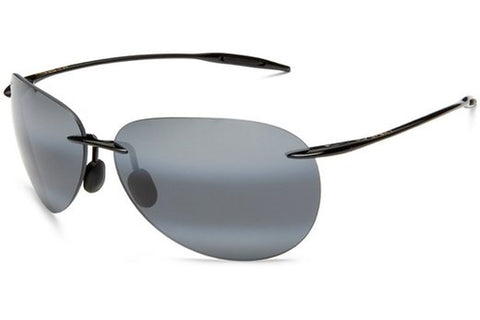 Maui Jim 421-02 Sugar Beach Sunglasses, Gloss Black Frame, Neutral Grey Polarized 62mm Lenses