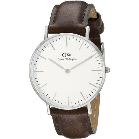 Daniel Wellington 0209DW Bristol Quartz Analog Men's Watch, Dark Brown Leather Band, Silver 40mm Case
