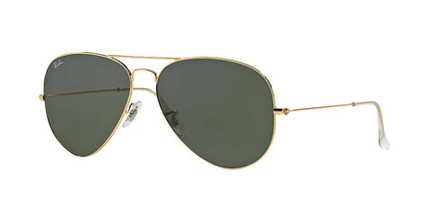 Ray-Ban RB3025 001 Aviator Classic Sunglasses, Gold Frame, Green Classic G-15 62mm Lenses