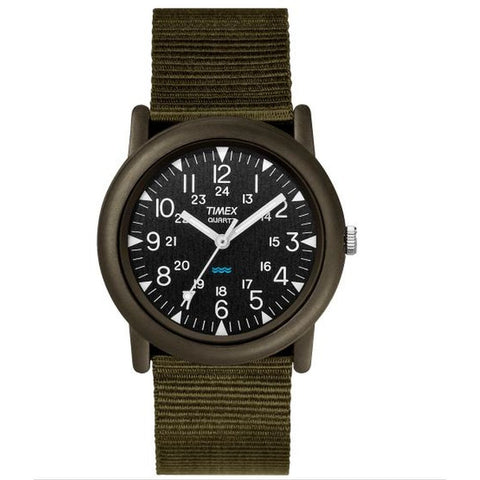 Timex T41711 Camper Men's Analog Display Quartz Watch, Green Nylon Band, Round 34mm Case