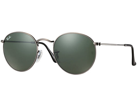 Ray-Ban RB3447-029 Round Metal Sunglasses, Gunmetal Frame, Green 50mm Lenses