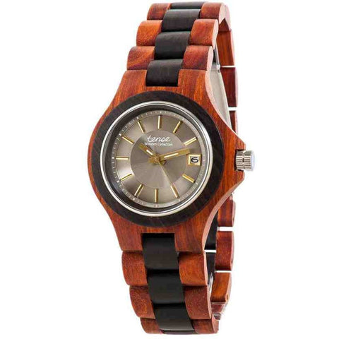 Tense Men's G4302RD Metro Analog Display Quartz Watch, Brown Wood Band, Round 45mm Case