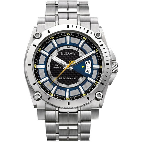 Bulova 96B131 Precisionist Analog Display Quartz Watch, Silver Stainless Steel Band, Round 46.5mm Case