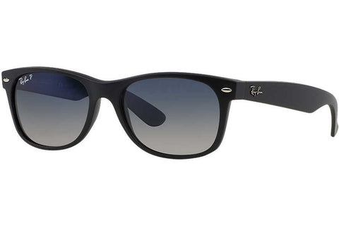 Ray-Ban RB2132 601S78 New Wayfarer Matte Sunglasses, Black Frame, Polarized Blue/Gray Gradient 52mm Lenses