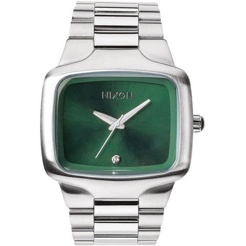Nixon A4871696 Men's Big Player Green Sunray Analog Watch, Silver Stainless Steel Band, Square 44mm Case