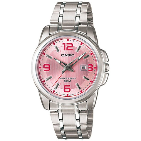 Casio LTP-1314D-5AV Analog Display Quartz Watch, Silver Stainless Steel Band, Round 32mm Case