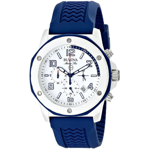 Bulova 98B200 Marine Star Analog Display Chronograph Quartz Watch, Blue Rubber Band, Round 44mm Case