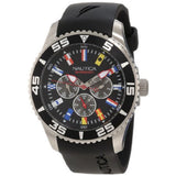 Nautica N12626G NST 07 Flags Men's Analog Display Quartz Watch, Black Rubber Band, Round 44mm Case