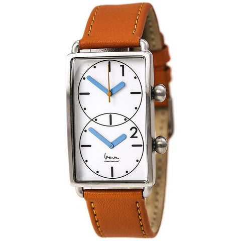 Projects 7611O Grand Tour Dual Time Analog Display Quartz Watch, Orange Leather Band, Rectangle 25.5mm Case