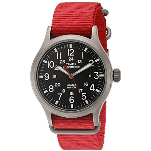 Timex TW4B045009J Expedition Scout Analog Display Quartz Men's Watch, Red Nylon Band, Round 40mm Case