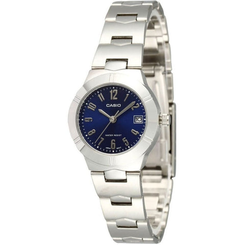 Casio LTP-1241D-2A2D Women's Analog Display Quartz Watch, Silver Stainless Steel Band, Round 25mm Case
