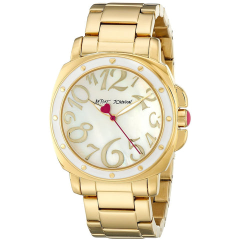 Betsey Johnson BJ00202-02 Women's Analog Display Quartz Watch - Gold Bracelet - Round 39mm Case