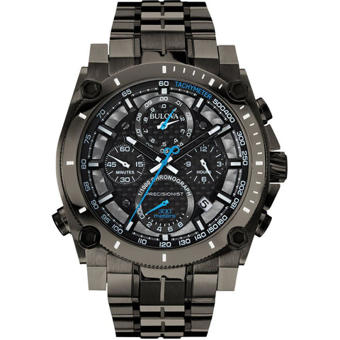 Bulova 98B229 Precisionist Analog Display Chronograph Quartz Watch, Gray Stainless Steel Band, Round 46.5mm Case