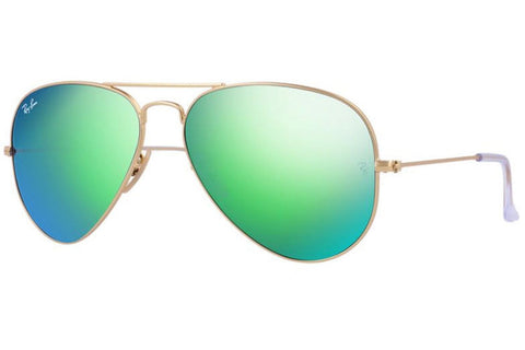 Ray-Ban RB3025 112/19 Aviator Flash Lenses Sunglasses, Gold Frame, Green Flash 55mm Lenses