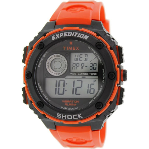 Timex T499849J Expedition Vibe Shock Digital Display Quartz Watch, Red Resin Band, Round 50mm Case