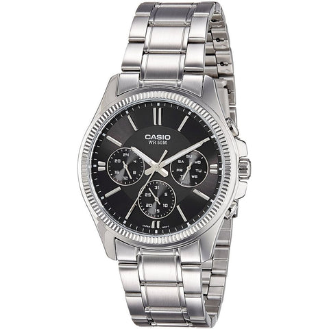 Casio MTP1375D-1AV Men's Analog Display Chronograph Quartz Watch, Silver Stainless Steel Band, Round 42mm Case