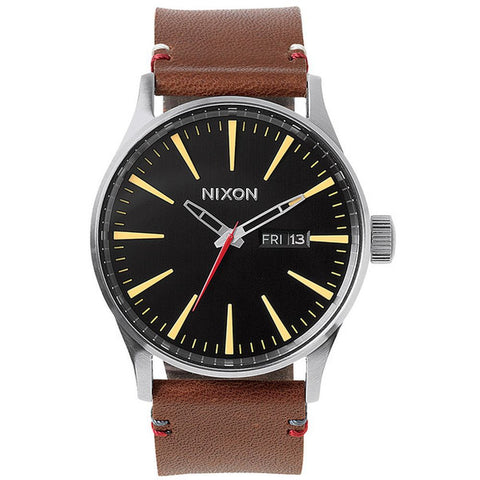 Nixon A105019 Men's Sentry Leather Black/Brown Analog Watch, Brown Leather Band, Round 42mm Case