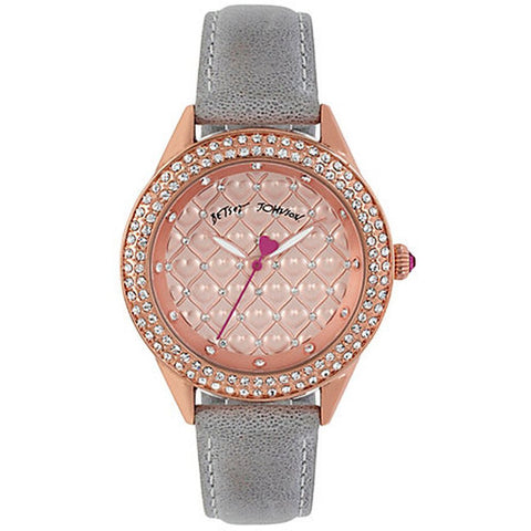 Betsey Johnson BJ00467-06 Women's Analog Display Quartz Watch, Grey Leather Band, Round 40mm Case